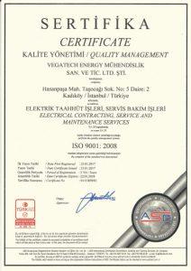 ISO 9001:2008 KALİTE YÖNETİM SERTİFİKASI